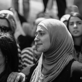 A woman crying during Muhammad's funeral